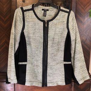 Alfani Woman Black/Neon Green & White Jacket